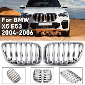 For 04 06 Bmw X5 E53 Front Hood Center Kidney Grill Grille Chrome Lh