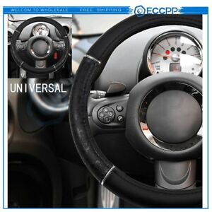 1pc Black Pvc Leather Auto Car Steering Wheel Cover New 15inch 38cm Durable