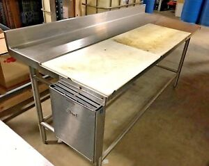 Amtekco Stainless Steel Prep Table Poly Top Cutting Board Knife Holder 72 W