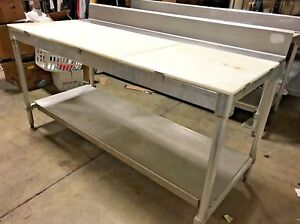 Stainless Steel Prep Table Wit Poly Cutting Surface Commercial Prep Table 72