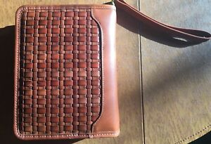 Franklin Covey Quest 7 Habits Compact Binder Planner Br Woven Leather Wristlet
