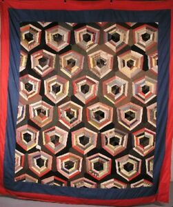 Antique Quilt Wool Strip Pieced Cobweb Variation Circa 1900 88 X 76