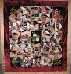Antique Quilt Silk Crazy Quilt 67 X 66 Circa 1890