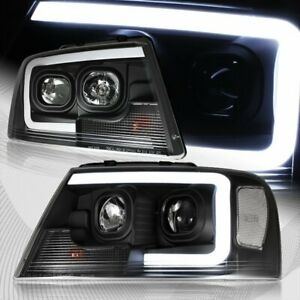 For 2004 2008 Ford F 150 Drl Led Projector Black Headlights W clear Reflector
