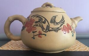 Chinese Tan Yixing Clay Teapot Birds Flowers Calligraphy Writing Marked 6 5