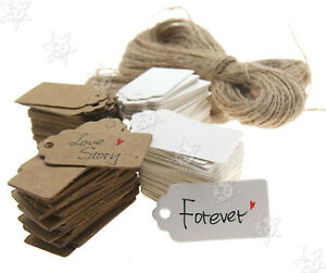 100pcs Kraft Paper Card Wedding Diy Label Price Hanging Tags 4x2cm 2 Colors