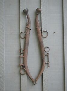Old Vintage Antique Pair Steel Horse Hames W Brass Ball Knobs Farm Tool Western