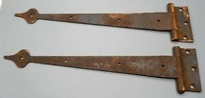 Pair Long 14 Antique Iron Spear Point Hinges For A Lift Top Trunk Or Chest