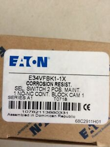 New Eaton E34vfbk1 1x Selector Switch 2pos 1no 1nc Brand New In Factory Box