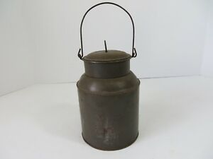 Vintage Primitive Steel Pail Can Bucket Lunch Milk Water Wire Bail 7082