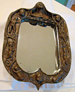 Ooak Antique Victorian Mourning Gesso Frame Mirror Figural Mom