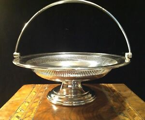 Mappin Webb Silver Plated Swing Handle Serving Dish Cake Stand Fruit Bowl