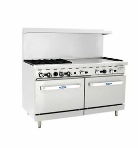 New Heavy 60 Range 4 Burners 36 Griddle 2 Full Ovens Stove Lp Prop Gas Only