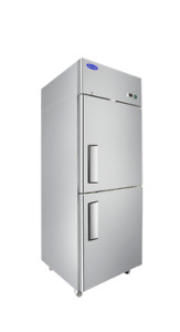 New Atosa 2 Half Door Stainless Reach In All Refrigerator Cooler With Casters