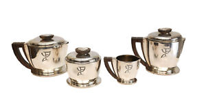 4pc Jean Puiforcat Sterling Silver Wood Art Deco Coffee Tea Service Set C1920