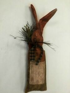 Primitive Country Herb Bunny Rabbit Doll Door Hanger By Pine Creek 19 Tall