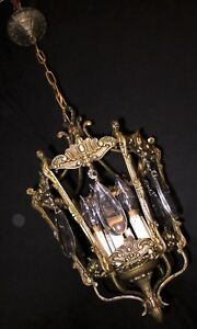 Vtg Deco French Spain Cast Brass Crystals Chandelier Ceiling Fixture 1950 S