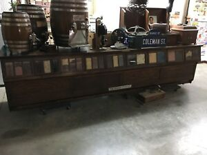 Original Antique Sherer 23 Drawer 12 Foot Oak General Store Seed Bean Counter I