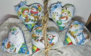 Set Of 5 Snowman Heart Christmas Ornies Handmade Tuck Winter Friends Bowl Filler