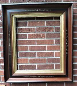 Antique Huge Victorian Eastlake Walnut Gilt Gold Liner Picture Frame 20 X 24 Fit