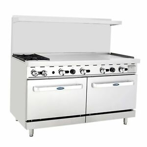 New Heavy 60 Range 2 Burners 48 Griddle 2 Full Ovens Stove Natural Gas Only