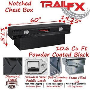 152602 Trailfx 59 Black Aluminum Truck Bed Chest Tool Box Notched