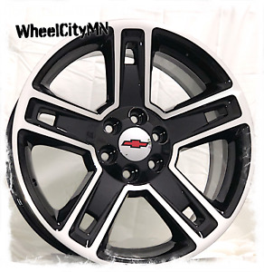 22 Inch Gloss Black Machine 2015 Chevy Silverado Ltz Oe Replica Wheels 6x5 5 24