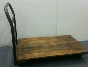 Vintage Industrial Factory Push Cart Dock Wood Casters Antique
