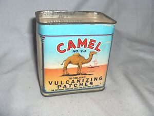Es71 Vintage Camel Vulcanizing Patches Box With Scraper Lid Service Station