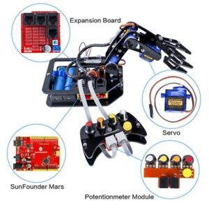 Electronic Robotic Hand Diy Arm Hand Kit 4 Axis Control Wired Controller Arduino