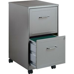 Gray Filing Cabinet Steel 2 Drawer Wheels Portable Mobile Locking Vertical New
