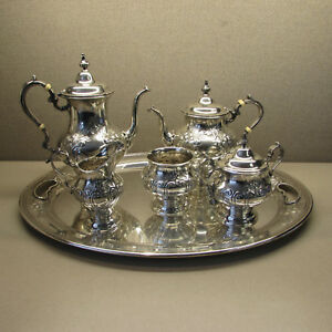 Gorham Sterling Chantilly Countess 6pc Tea Coffee Service