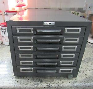Vintage Cole Steel Metal Gray Library 6 Drawer File Card Catalog Cabinet Unused