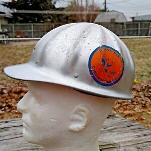 Vintage Superlite Fibre Metal Aluminum Hard Hat Buena Vista Construction Sticker
