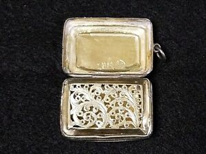 Antique Georgian Sterling Silver Vinaigrette Birmingham By John Bettridge