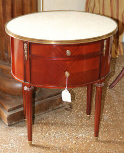 Beautiful Low Oval Marble Bronze French Mahogany Louis Xvi Night Stand Single