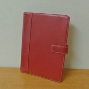 Red Sim Leather Franklin Covey Classic Wirebound Planner Cover