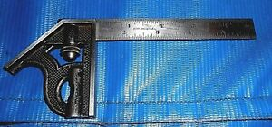 Starrett 6 Inch Long Blade Combination Square Scale Stamped The L s s Co Old