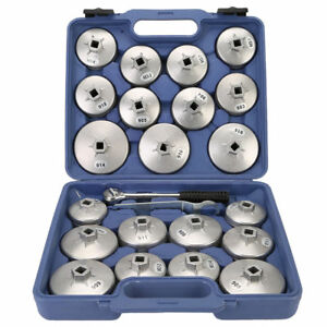 23x Cap Type Oil Filter Wrench Set Socket Tools Automotive Removal Kit Tool Us