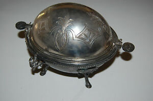 1870 S Silver Plate Covered Butter Dish Egyptian Revival Manhattan Plate Co