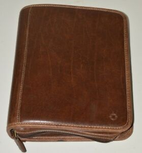 Vintage Franklin Covey High End Zipper Brown Leather Day Planner Binder Rare Nm