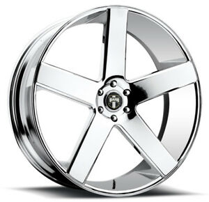 4 New 22 Inch Dub S115 Baller 22x9 5x120 25mm Chrome Wheels Rims