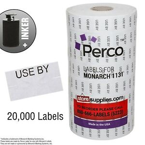 Black Print On White use By Labels For Monarch 1131 Price Gun 8 Rolls 20 000