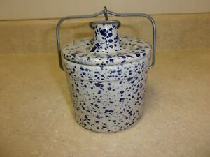 Vintage Glazed Butter Cheese Crock White Blue Speckled With Latch 4
