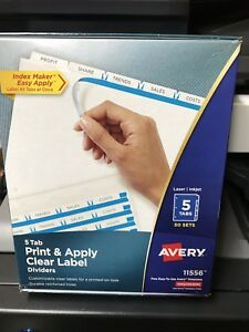 Avery Print Apply Clear Label Dividers 5 tab Letter 50 Sets 11556