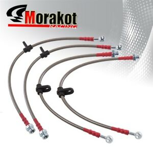 Honda Accord 98 02 Stainless Steel Front Rear Oil Brake Line Cable Silver Red