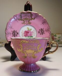 Vintage Royal Halsey Very Fine China Opalescent Tea Cup And Saucer Pink Gold