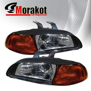For 92 95 Honda Civic 2 3 Door 1 Piece Black Housing Headlights Amber Reflector