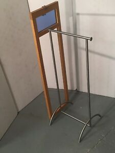 Metal Wood Laminate Display Clothing Bar Rack Retail Store Fixture