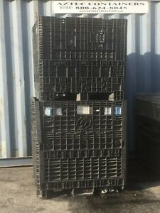 Used Plastic Pallet 45x48x42 Containers Gaylord Shipping Bins W 2 Drop Doors